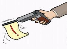 Loud Gun Symbol. Cartoon of pistol firing flag with exclamation mark Royalty Free Stock Photo