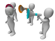 Loud Hailer Character Shows Megaphone Shouting Yelling And Bully Royalty Free Stock Photo
