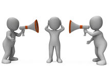 Loud Hailer Characters Show Megaphone Attention Stock Photography
