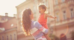 Loud laughter is a sign that the child is happy. royalty free stock images