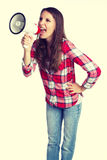 Loud Megaphone Woman Royalty Free Stock Image