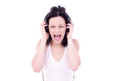 Loud music. Teen listen loud Stock Image