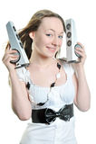 Loud music. Girl with speakers and loud music Stock Image