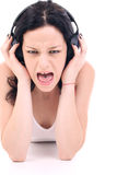 Loud music. Listening loud music Royalty Free Stock Photos