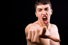 Loud scream of angry furious violent man Royalty Free Stock Photo