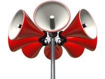 Loud speaker. Red loud speakers on a pole Royalty Free Stock Image
