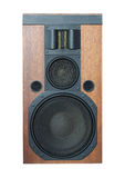 Loud speaker with black grills and solid wood finish isolated Stock Photography