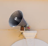 Loud speaker mounted on outdoor wall Royalty Free Stock Photo