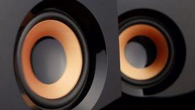 Loud speaker. Speaker cone pumping. Closeup stock footage