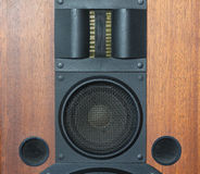Loud speaker system details. Loud speaker system with wood finish and metal black grills details closeup royalty free stock photography