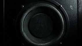 Loud speaker throws dust in the air. Super slow motion. Equalizer concept stock video footage