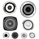 Loud speakers. Set of different ial loud speakers Stock Photo
