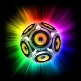Loud speakers abstract 3d concept. Loud speakers over the colorful rays of light Stock Photos