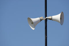 Loud speakers on a tall column. Two loud speakers on a tall column Royalty Free Stock Photography