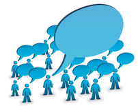 The louder one. Crowd with speech bubbles, one person with bigger bubble symbolizing louderness Royalty Free Stock Photo