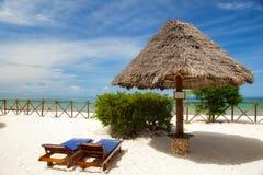 Loudges under umbrella at the shore. Of Indian ocean, Zanzibar, Tanzania Stock Image