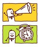 Loudhailer et horloge d'alarme illustration stock
