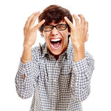 Loudly screaming guy Stock Image