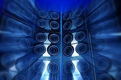Loudness Party. Performance Theme with Large Bass Speakers and Motion Blur Effect. Blue Tones. Perfect for Techno Party Flyers etc. 3D Rendered Illustration Royalty Free Stock Photography