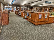 Loudonville, Ohio community public library interior. Inside view of Loudonville public library front desk area royalty free stock photography