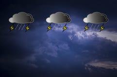 Louds är svart i himmel, medan regn faller, med symboler och regnsymboler Med kopieringsutrymme och satta text- och väderprognose royaltyfri illustrationer