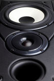 Loudspeaker. Front view of big loudspeaker with two drivers and bass reflex vent Royalty Free Stock Images