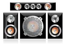 Loudspeaker. Four different loudspeakers with different cabinets including grilled subwoofer. If you take the closer look - there are 3 different kinds of Stock Photography