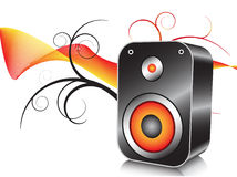 Loudspeaker. Illustration of loudspeaker with abstract background Stock Images