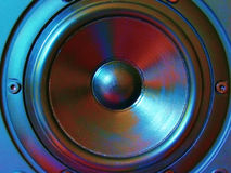 Loudspeaker. Close of of black loudspeaker with cross-processed effect royalty free stock photography