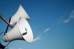 Loudspeaker. Against the sky stock image