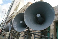 Loudspeaker. Against the sky royalty free stock photo