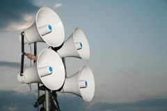 Loudspeaker. Against the sky clouds out side royalty free stock image