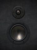 Loudspeaker. Black fabric loudspeaker with tweeter and bass stock images