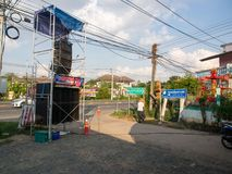 The LoudSpeaker for Buddhist Donation Event in Burirum Province, stock images