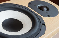 Loudspeaker closeup. Closeup of mid-range and tweeter drivers of a high fidelity loudspeaker Royalty Free Stock Image