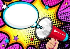 Loudspeaker comic book Pop Art. Female hand with megaphone.
