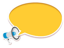 Loudspeaker and comic speech bubble. Vector illustration made in sticker style Royalty Free Stock Images