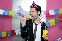 Loudspeaker crazy party man shouting happy Royalty Free Stock Image