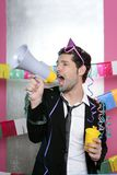 Loudspeaker crazy party man shouting happy. Holiday Royalty Free Stock Images
