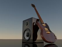 Loudspeaker and E-Guitar. Illustration of the loudspeaker and mirror E-Guitar Royalty Free Stock Images