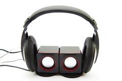 Loudspeaker and earphone Stock Images