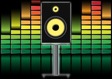 Loudspeaker and Equalizer. Stand Loudspeaker on Illustration of Equalizer Background stock illustration