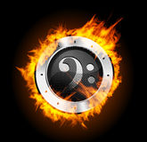 Loudspeaker on Fire Isolated. On Black Background. Vector illustration Royalty Free Stock Images