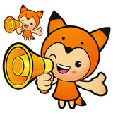 Loudspeaker with a fox mascot. Animal Character Design Series. Stock Photography