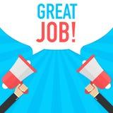 Loudspeaker great job words. Promotion and advertising concept. Vector stock illustration stock illustration