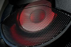 Loudspeaker grid texture in dark colors. With round texture royalty free stock photo