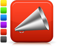 Loudspeaker icon on square internet button Royalty Free Stock Photography