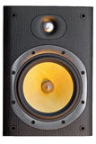 Loudspeaker with Kevlar cone. A high-end stereo speaker in yellow, silver and black. Interesting textures are visible on the kevlar cone of the main driver Royalty Free Stock Photos