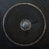 Loudspeaker lattice. Loudspeaker fragment behind a black facing lattice Royalty Free Stock Image
