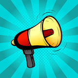 Loudspeaker or megaphone in retro pop art style Stock Photos